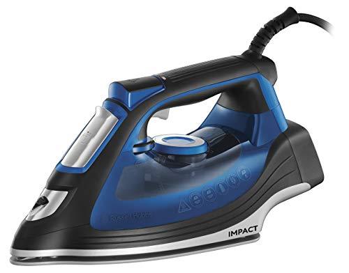 Russell Hobbs Impact - Plancha de vapor, resistente a caídas, golpe de 160 g/min, 2400 W, suela cerámica, 3 modos apagado automático, color negro y azul - ref. 24650-56