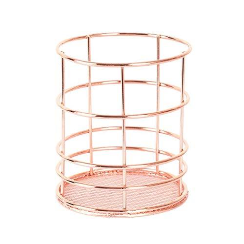 Hohle Rose Muster Make-up Pinsel Vase Topf Stifthalter Aufbewahrung Organisator-Behälter (Rose Gold-Runde)