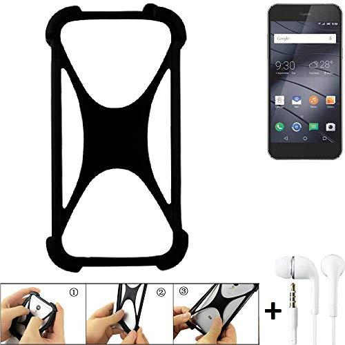 K-S-Trade Handyhülle für Gigaset ME Pure Schutzhülle Bumper Silikon Schutz Hülle Cover Case Silikoncase Silikonbumper TPU Softcase Smartphone, schwarz (1x), Headphones