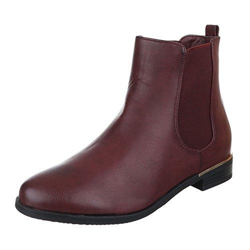 Damen Schuhe, ZH672-1, STIEFELETTEN USED LOOK STRETCH BOOTS Weinrot