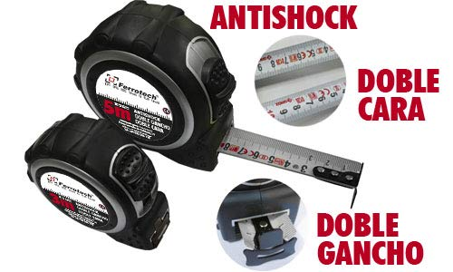 FERROTECH Flexómetro Antishock Cinta Cara Blanca, Doble Gancho C/Nylon 5mx25mm, Negro, 5 Metros x 25 mm