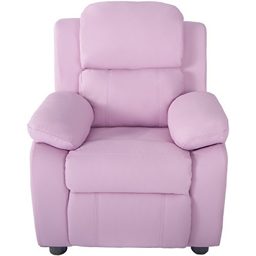 Kids Recliner Arm Chair Kids Sofa Bed Safety Reclining Waterproof PU Cover Children Sofa (PINK)