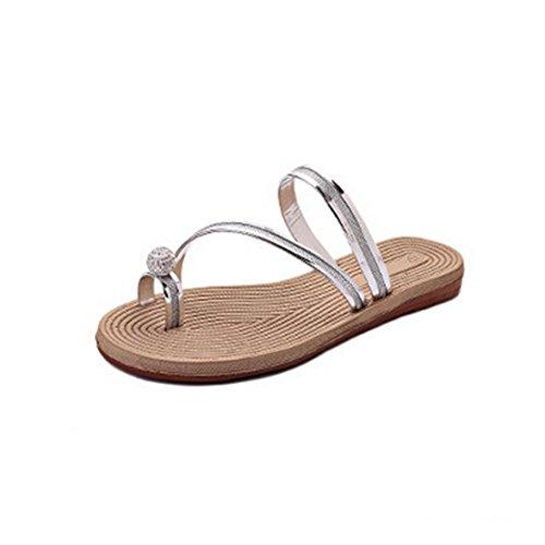 Hunpta Frauen Flip Flops Pantoffeln flache Sandalen Sommer Beach Casual Schuhe Silber