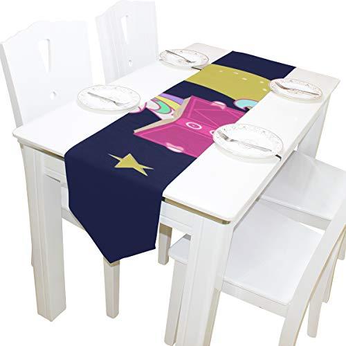 Yushg Kawaii Nette Unicorn Moon Dresser Schal Tuch Abdeckung Tischläufer Tischdecke Tischset Küche Esszimmer Wohnzimmer Home Hochzeitsbankett Decor Indoor 13x90 Zoll (Vor Nacht Halloween-geschichte In Der)