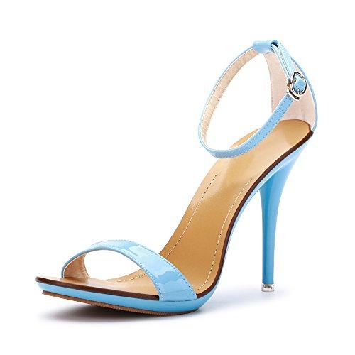 Sandálias Do Tornozelo Fivela De Estilete Saltos Altos Heel 10,5 Centímetros De Casamento Sexy Partido Azul Das Mulheres