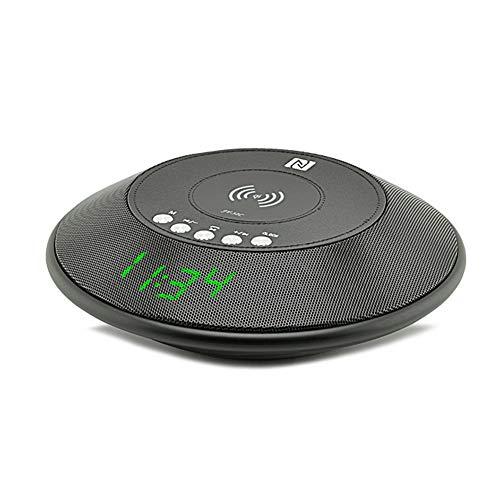 Wolfsay Drahtloser tragbarerBluetooth Lautsprecher drahtloses Ladegerät QI mit FM Radio NFC Wecker Uhr für iPhone Samsung Schiff von RU