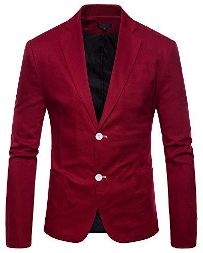 b4b246c8958bbc Uomo Elegante Solido Un Pulsante Partito Prom Smoking Slim Fit Blazer Vestito  Giacca Vino Rosso 2XL