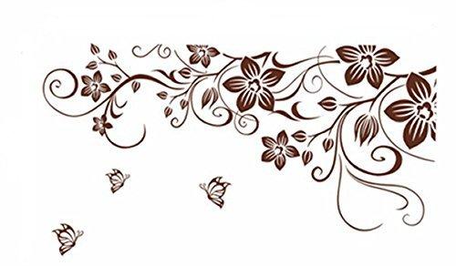 Pegatina de pared vinilo adhesivo decorativo para cuartos, dormitorio,cocina, ... flores y mariposas Color Marron OPEN BUY
