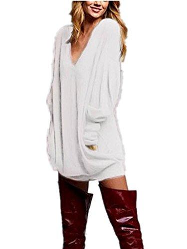 ZANZEA Donna V-Neck Manica Lunga Camicetta Maglioni T-shirt Mini Gonna Sweatshirt Top Beige IT 42-44/TAG L