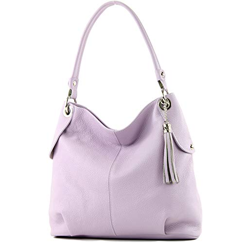 modamoda de - T185 - ital. Damen Schultertasche aus Leder, Farbe:Flieder (Violetta Handtasche)