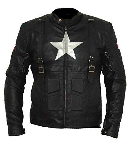 HNDs Captain America 2 Full Black Faux Leder Cosplay Jacke (XS) Schwarz