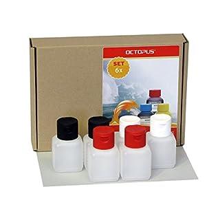 6 x 50 ml Octopus Kunststoffflaschen, HDPE Plastikflaschen mit bunten Klappverschluss, Leerflaschen mit farbigen Scharnierverschluss, Vierkantflaschen inkl. 6 Beschriftungsetiketten