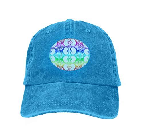 Unisex Adult Baseball Cap Trucker Hat Cowboy Hat Hip Hop Sports Snapback Colorful Rainbow Colors Hearts Heart Distribution Pattern ti Blue