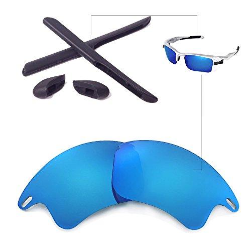 Walleva Ersatzgläser oder Linsen/Gummi für Oakley Fast Jacket XL Sonnenbrille - 26 Optionen (Eisblau Polarisierte Linsen + Schwarzer Gummi) (Gläser Oakley Jacket Fast)