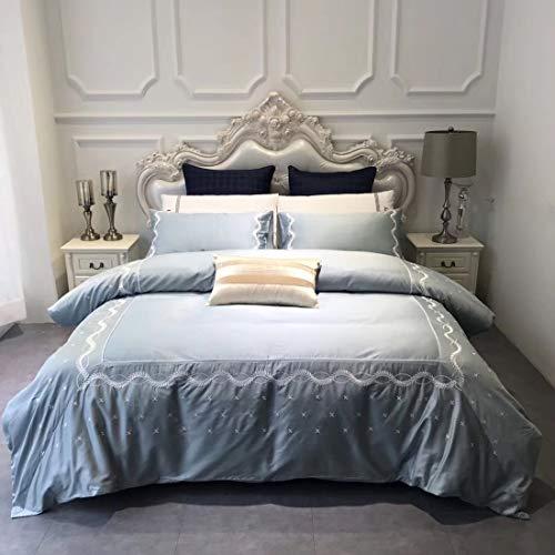 Mkulxina Vier Sets Bettwäsche Baumwolle langstapelige Baumwolle bestickte Bettwäsche Kissenbezug geeignet für Home Interior (Color : Blue, Size : 220 * 240CM) (Bestickte Bett-satz)