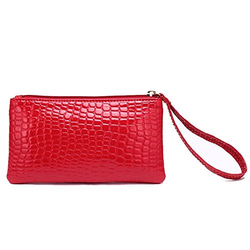 GSPStyle Women Man-made Leather Purse Wallet Wristlet Clutch Bag Colour Red