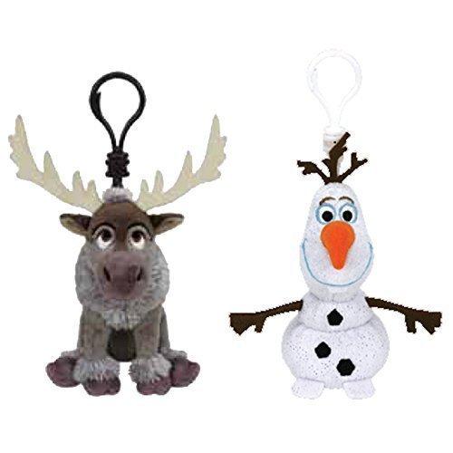 TY Beanie Baby - Set of 2 OLAF & SVEN (Disney Frozen) (Plastic Key Clips) by TY
