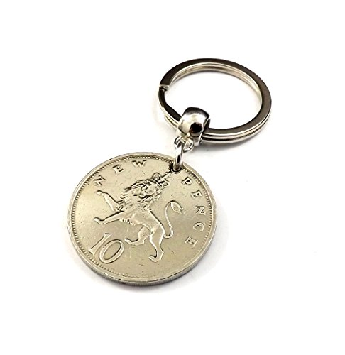 1977 10 New Pence Vintage Coin Keyring 40th Birthday Gift