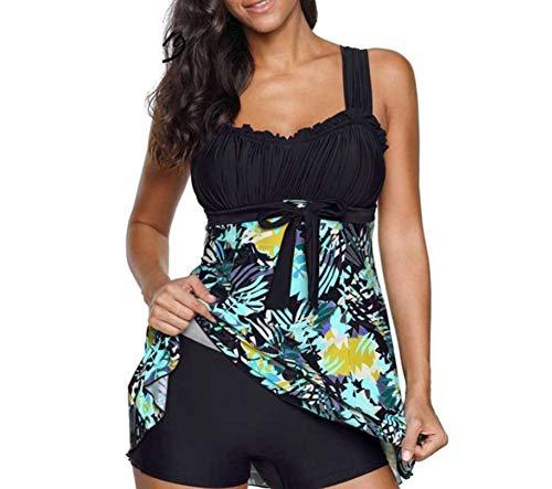 Vawal 2 Stücke Damen Plus Größe Tankini Badeanzug Blumen Rüschen Schwimmen Dress Top Bottom Bademode (XL, Schwarz)
