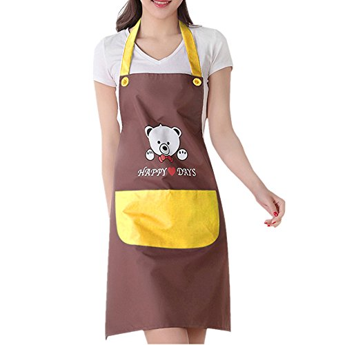 Fletion Femme Professionnel Tablier de Cuisine Tablier de cuisine en plastique imperméable à l'eau Tablier avec Pocket Garden Tablier grand cadeau pour l'epouse