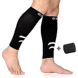 Pantorrillas patas Medias de compresión, ternero Espinilleras Mangas para pantorrillas Sleeve para camino/Ciclismo/Fitness y piernas krampf–Soporte de compresión Hombres/Mujeres (Negro, 1par), Small-Medium