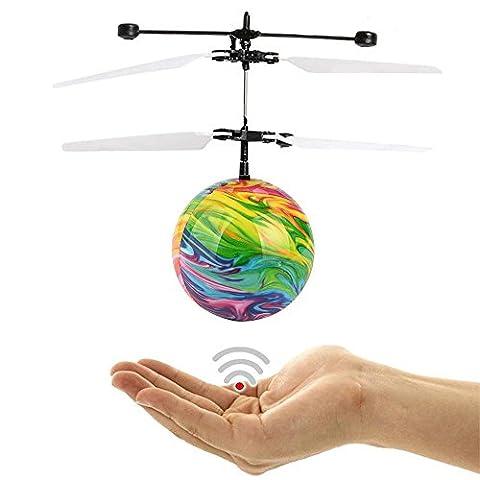 Flying Toy Ball kingko Hand Fliegen UFO Ball LED Mini Induktion Suspension RC Flugzeug (D) (Erweiterte Sicherheitssystem)