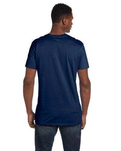 Hanes Mens narrower Ribbed Collar T-Shirt Vintage Navy