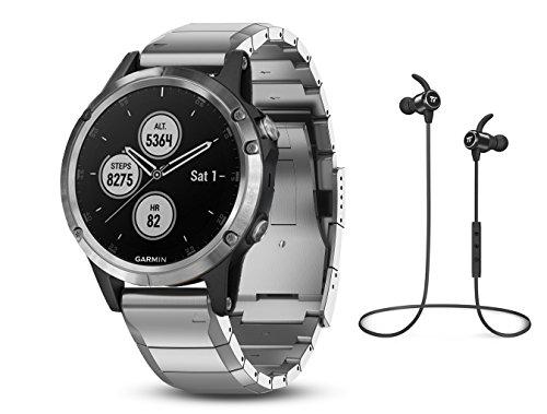 Garmin GPS-Multisport-Smartwatch Fenix 5 Plus – Music-Player mit 500 Songs - 24/7 Herzfrequenzmessung am Handgelenk, vorinstallierte Sport-Apps, integriertes GPS, Mobile Payment via NFC - Armband: Edelstahl Silber, Gehäusegröße: 47mm, Gehäusefarbe: Silber, inkl. Silikon Wechselarmband schwarz und Bluetooth Headset