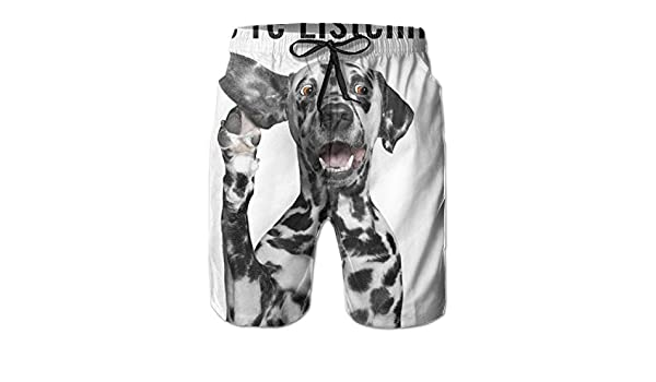 Bilybily were Listening Dalmatian Mens Swim Trunks Quick Dry Board Shorts with Pockets Summer Beach Shorts