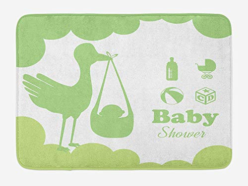 Green Bath Mat, Silhouette of a Stroke Carrying a Baby Toys Stroller Milk Bottle and Ball, Plush Bathroom Decor Mat with Non Slip Backing, 23.6 W X 15.7 W Inches, Apple Green Pale Green White Milk Glass Bowl