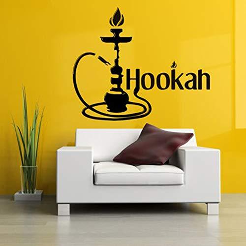 Wasserpfeife Wandaufkleber Arabisch Shisha Zigarette Dampf Tabak Rauch Wand Fenster Glas Aufkleber Vinyl Decor Wandkunst Leicht Abnehmbare 57x69 cm (Kunst Aus Glas, Wasserpfeife)
