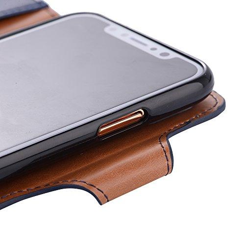 iPhone X Coque,Valenth 2 en 1 Crazy Horse Pattern Portefeuille en cuir Etui avec embouts pour carte d'identité [Stand Feature] Back Coque pour iPhone X Black