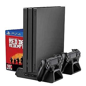 RegeMoudal PS4 / PS4 Slim vertikaler Ständer mit eingebautem Lüfter, PlayStation Ladestation Ständ mit Dual Controller Ladestation, Multifunktionaler vertikaler Kühlungs-Standplatz