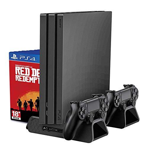 RegeMoudal Soporte Vertical para PS4/PS4 Slim/Pro Base PS4 Refrigeración con 3 Ventiladores Refrigeración,2 Puertos USB,Doble Estación de Carga pare Controlador,12pcs Almacenamiento de Discos