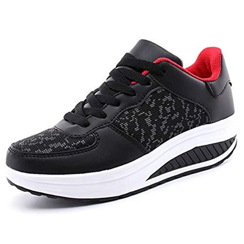 Zapatillas para Mujer Running Zapatos Deportes Blanco Negro (38 EU, 2-Rojo)