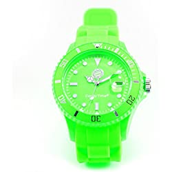 Bayern Munich Watch Candy Time Green + Free Badge, Analogue Quartz Silicone Unisex Watch