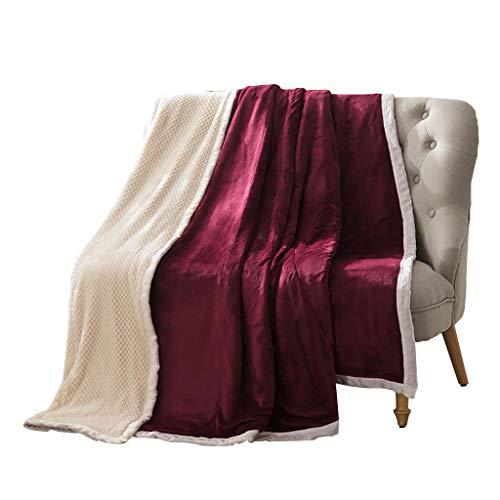 Max Home Coral Fleece Double Layer Verdicken Sie die Steppdecke für das Schlafzimmer im Wohnzimmer. Einzelne/doppelte Decke (Farbe : Jujube Red, größe : 200X230cm) -