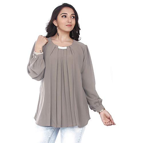 Go.4.it Women's Pleated Top (XXXXX-Large, Grey)