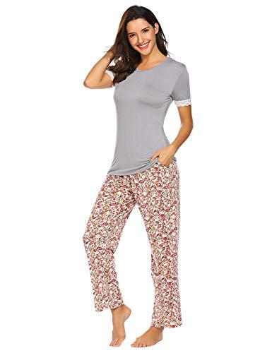 mmer Pyjama Set Baumwolle Jersey Frauen Nachtwäsche Zweiteilig Hausanzug kurz Schlafshirt mit lang Hosen ()