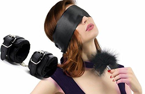 SM Bondage Handschellen Leder Augenmaske Augenbinde mit Federkitzler Liebes Feder,BDSM Fetich Bondage Set Für Fesseln Sexspielzeug für Frauen und Paar