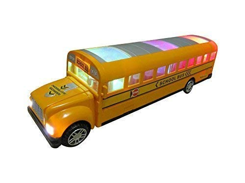 Green School Bus Bump And Go Action - Beautiful 3D Flashing Lights And Musical Sounds - School Bus Toy For Kids 3 & Up (Go Go School Bus)