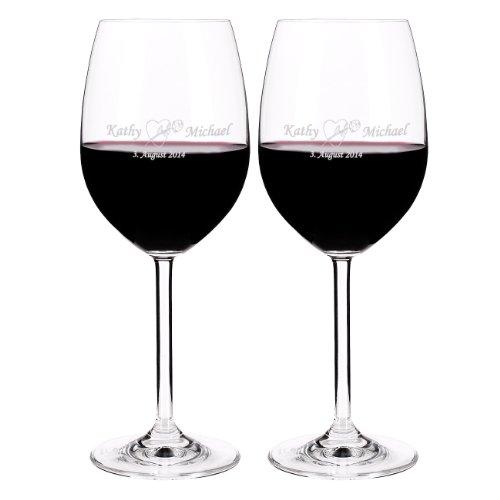 Leonardo 2 Weingläser mit gratis Gravur zur Hochzeit mit Namen + Datum - Rosen Herz
