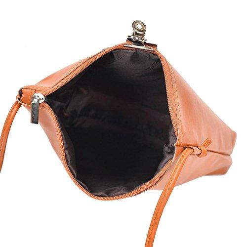 Pu Borsa Messenger In Pelle, Donne Di Moda Borsa A Zip Borsa A Tracolla Borsa Messenger Bag Tote Signore Borsa di Kangrunmy Marrone