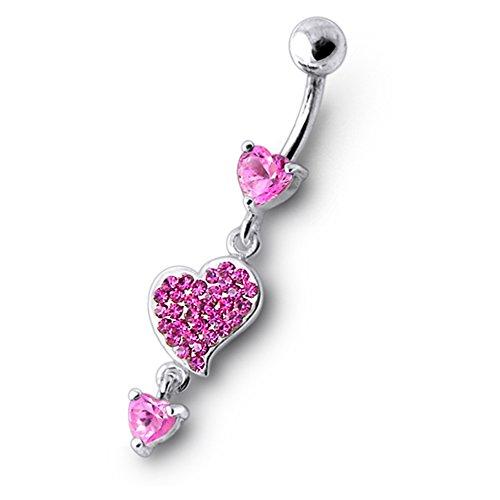 Bijou anneau nombril en argent sterling 925 triple coeurs pierres fantaisies et pendant Banane 14Gx3/8(1.6x10MM) acier chirurgical 316L et boule 5mm Pink
