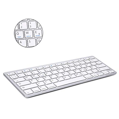 Bluetooth 3.0 Wireless Tastatur (Qwertz) Kabellose Deutsche Keyboard, Kompatibel mit Allen iOS, Android, Mac, und Windows Geräten - (Weiß) ()