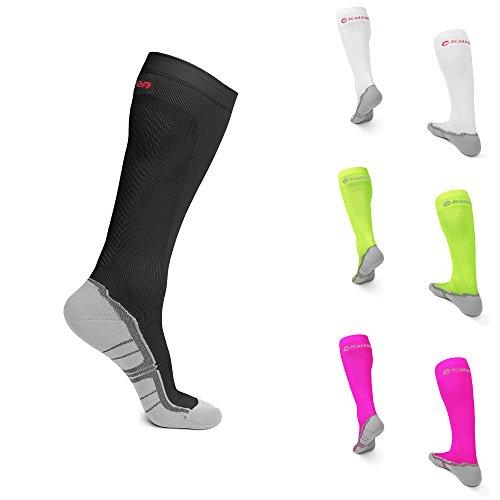 Calze a compressione kaizen unisex ad alte prestazioni per uomini e donne 43 - 47 per l'aumento di potenza circolazione sanguigna durante lo sport calzini di viaggio e calze medico 1 paio nero