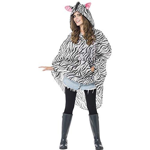 Smiffys, Unisex Zebra Party Poncho, Poncho mit Zugbeutel, One Size, (Kostüm Herren Zebra)