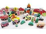 PROW® Städtischen Verkehr Transport Holz Bausteine Lernspielzeug Massivholz Sichere Straßenschilder Spielset für Kinder Große Geburtstagsgeschenk Idee (32 Stücke)