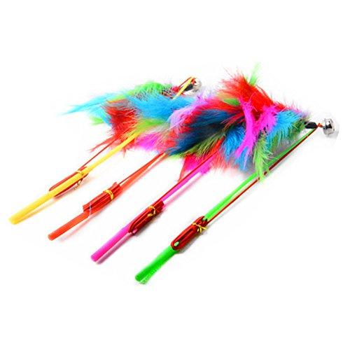 MoO1deer Angelrute mit Buntem Federn, elastisches Seil für Haustiere, für Outdoor-Aktivitäten, zufällige Farbe, 5 Stück