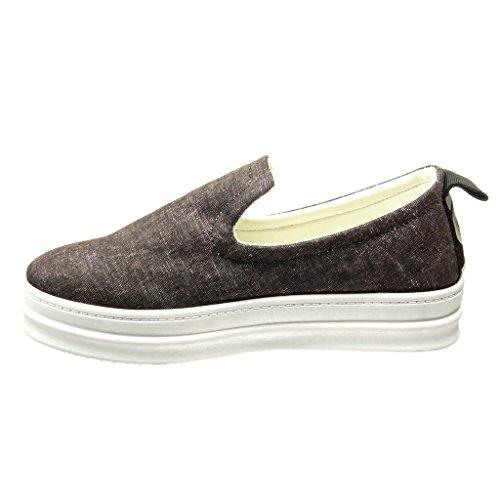 Angkorly - Scarpe Moda Sneaker zeppe slip-on donna strisce Tacco zeppa piattaforma 5 CM Grigio